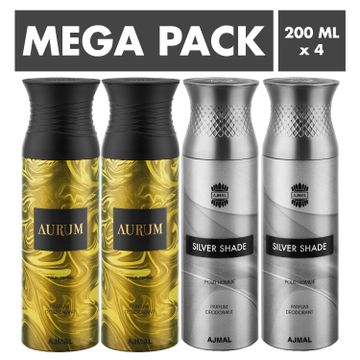 Ajmal | Ajmal Aurum & Silver Shade Deodorant Spray- For Men & Women (200 ml, Pack of 4)