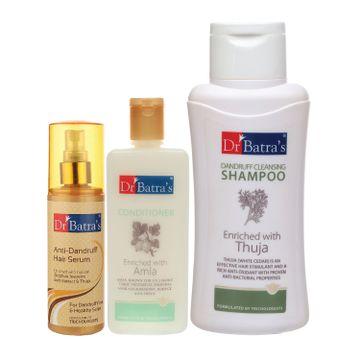 Dr Batra's | Dr Batra's Anti Dandruff Hair Serum, Conditioner - 200 ml and Dandruff Cleansing Shampoo - 500 ml