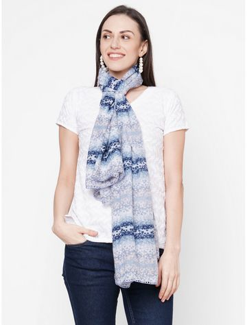 Get Wrapped | Get Wrapped Blue Polyester Printed Scarf with Crochet Border