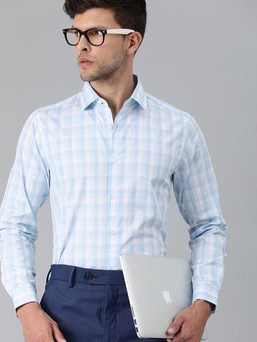 The Bear House | THE BEAR HOUSE Men Blue Slim Checks Luxury Giza Cotton Formal Shirt