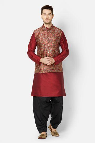 Ethnicity | Maroon printed sleeveless jacket