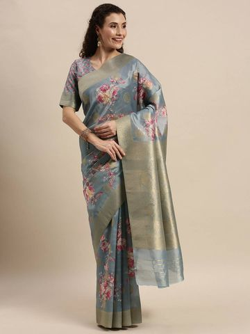SATIMA | Women's Grey Digital Floral Print Woven Saree