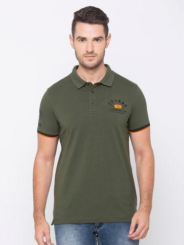 spykar | Spykar Olive Green Polo Tshirt