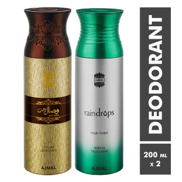 Ajmal | Wisal Dhahab and Raindrops Deodorant Spray - Pack of 2