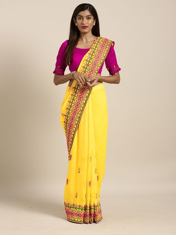 SATIMA | Satima YellowGeorgetteThread Embroidery Saree