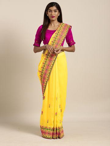 SATIMA | Satima YellowGeorgetteThread Embroidery Saree