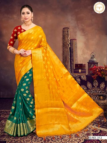 POONAM TEXTILE | BANARASI DARK GREEN and MUSTARD RAW SILK HALF N HALF FESTIVE SAREE