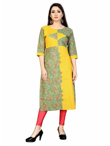 SATIMA | Women's Green Straight Printed Cotton Kurta