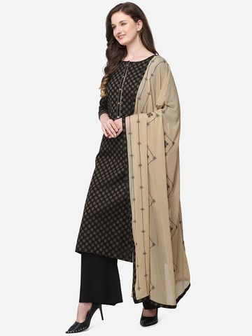 SATIMA | Black Silk Blend Dress Material