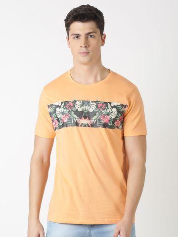 Blue Saint | Blue Saint Men's Floral Orange T-Shirt