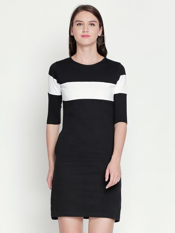 Jhankhi | Black Colourblocked Shift Dress