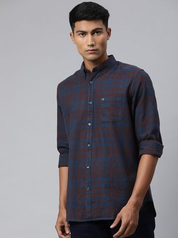 The Bear House | Men's Rust Checkered Casual Shirt