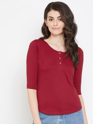 Jhankhi | Red Henley T-Shirts