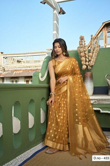 POONAM TEXTILE | Fashion Banaras Beige Organza Silk Hand Dyed Zari Festive Saree