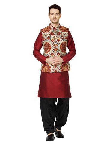 Ethnicity | Rust printed sleeveless jacket