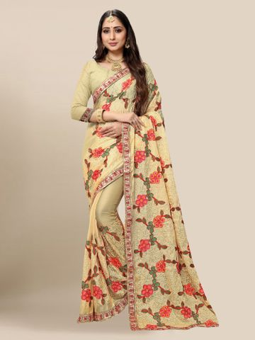 SATIMA | Women Embroidered Cream Chiffon Half N Half Saree