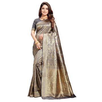 POONAM TEXTILE   Latest Banarasi Silk Grey Saree For Reception