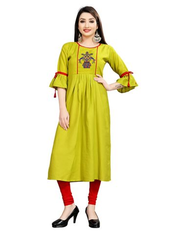 SATIMA | Women's Green Flared Embroidered Rayon Kurti