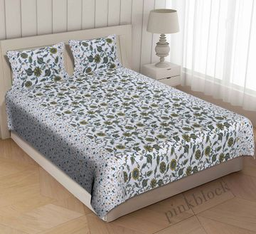 Pinkblock.in | Green Cotton Iris Bedsheet