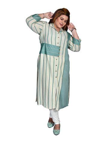 XMEX   Xmex Plus Size Green cut & sew styled cotton kurti for women