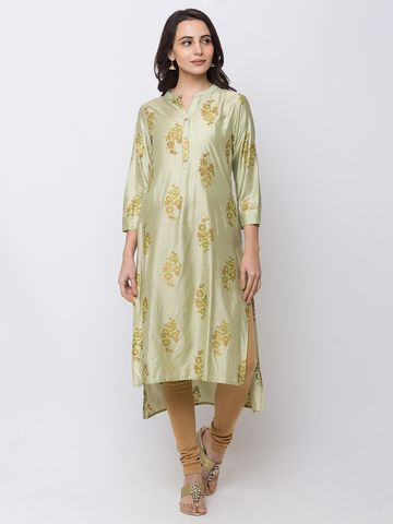 Ethnicity | Ethnicity Women Fashion Gadhwal Three-Fourth Green Kurta