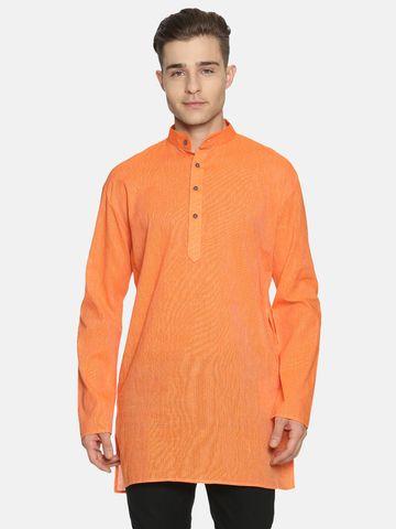 Jansons | Jansons Men's Solid Orange Ethnic Kurta