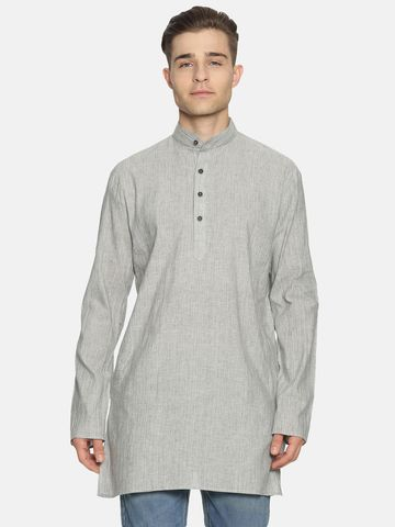 Jansons | Jansons Men's Solid Light Grey Ethnic Kurta