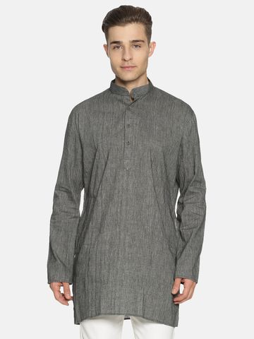 Jansons | Jansons Men's Solid Black Ethnic Kurta