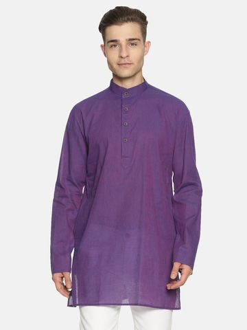 Jansons | Jansons Men's Solid Purple Ethnic Kurta