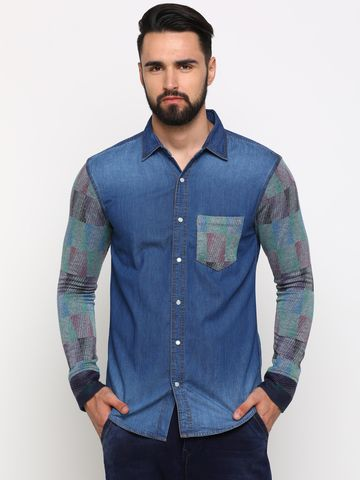 With | With Men's Blue Denim Solid SlimFit Shirt