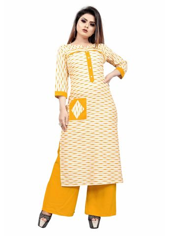 SATIMA | Women Cream Kurta Palazzo Set