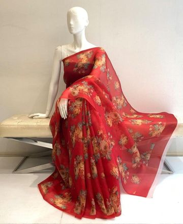 SATIMA | red color grogatte Digtel print saree