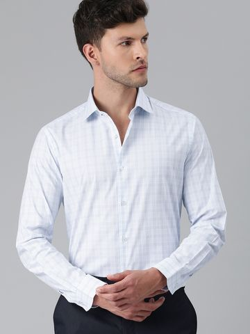 The Bear House | Men White & Blue Slim Fit Checked Formal Shirt