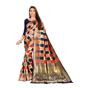 POONAM TEXTILE   Banarasi Jacquard Silk Blend Blue Red Checkered Woven Zari Saree