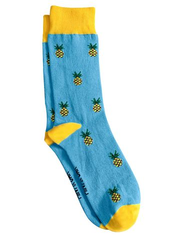 Mint & Oak | Mint & Oak Tropical Fruit  Blue Calf Length Socks for Men