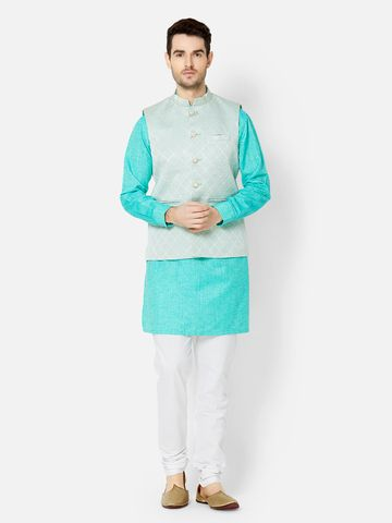 Ethnicity | Sea Green jacquard sleeveless jacket