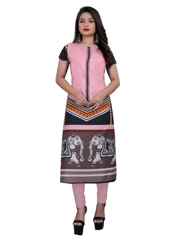 SATIMA | Women's Pink Straight Digital Printed Crepe Kurti