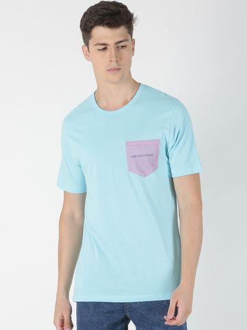 Blue Saint | Blue Saint Men's Solid Blue T-Shirt