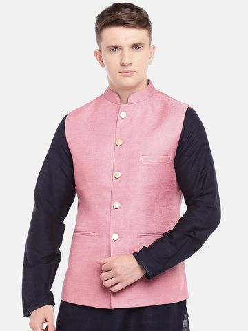 Ethnicity | Ethnicity Full Sleeve Polyester Blend Pink Men Jackets