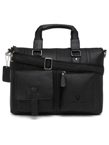 WildHorn   WildHorn 100% Genuine Leather Black Laptop Bags for Men