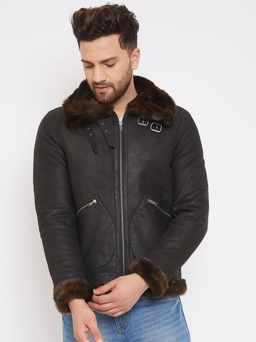 Justanned | JUSTANNED MEN GENUINE REAL LEATHER FUR COLLAR  JACKET