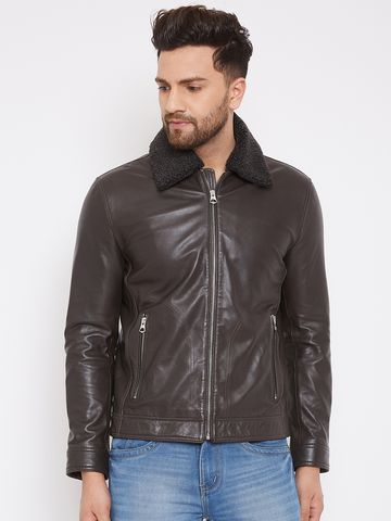 Justanned   JUSTANNED MEN GENUINE REAL LEATHER FUR COLLAR JACKET