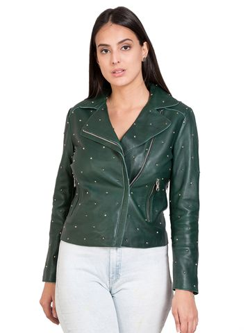 Justanned | JUSTANNED WOMEN GREEN GENUINE REAL LEATHER JACKET