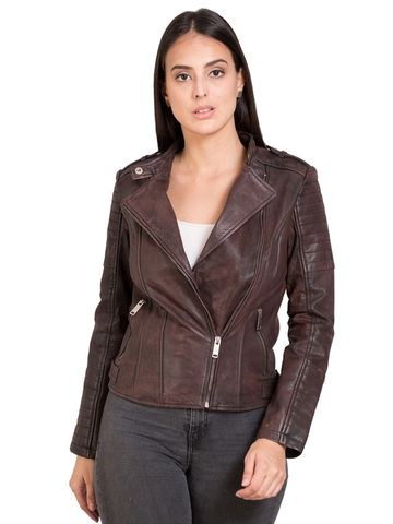 Justanned | JUSTANNED WOMEN RED GENUINE REAL LEATHER JACKET