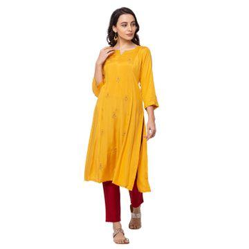 Ethnicity | Ethnicity Polyester Straight Women Mustard Kurta
