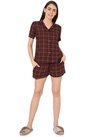 Smarty Pants | Smarty Pants women's brown & white checkered printed night suit