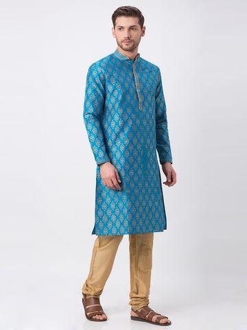 Ethnicity | Ethnicity Polyester Blend Straight Full Sleeve Men Turq Kp Set
