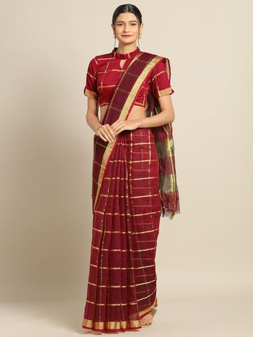 SATIMA | Satima Marron Cotton SilkWeaving Saree