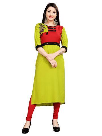SATIMA | Women's Green Red Flared Embroidered Rayon Kurti