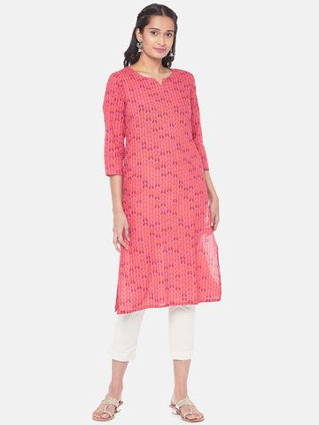 Ethnicity | Cotton Straight Women Fuschia Kurta